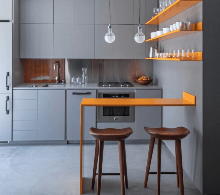 Simple wall floating kitchen island ideas