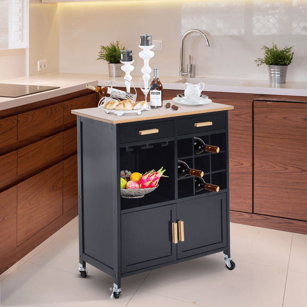 Storable cabinet kitchen island for small spaces
