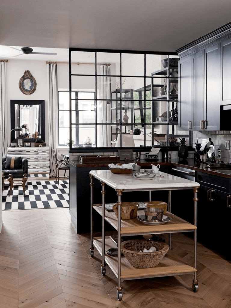 The Utilitarian Style kitchen island design for small spaces