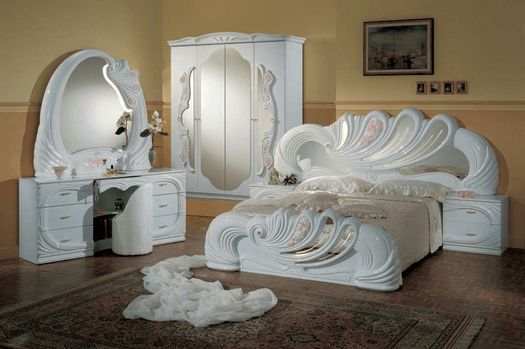 Vanity white Italian Classic lacquer bedroom furniture sets
