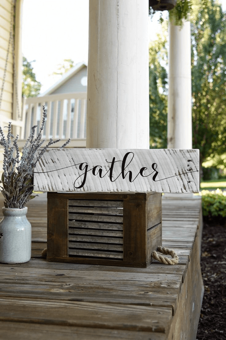 """Gather"" Weathered Fall Sign from Wood DIY"