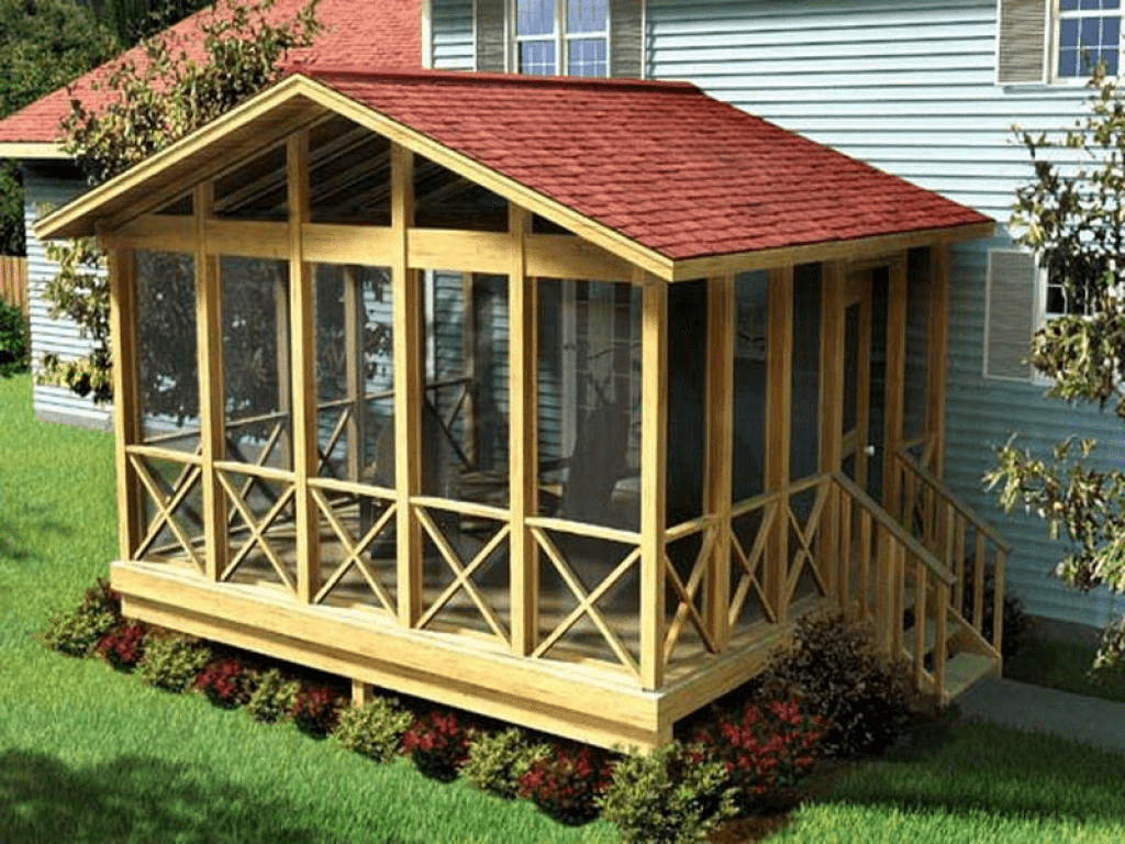 Amazing Shed Roof Screened Porch Design