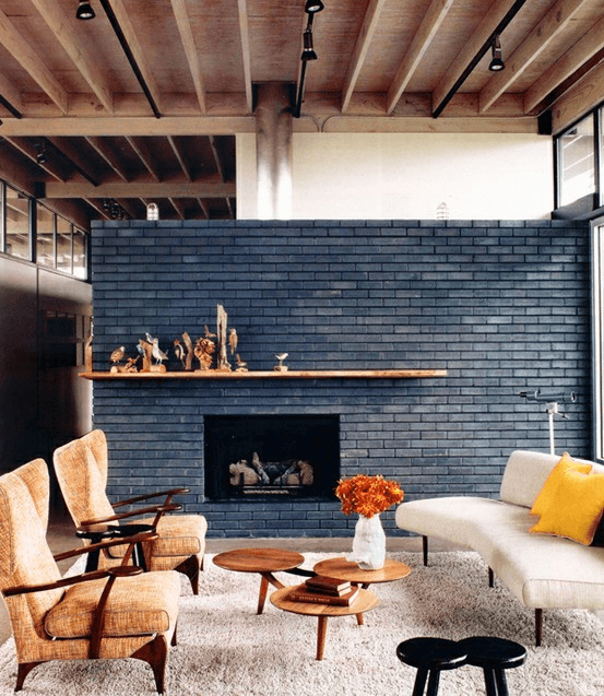 Black exposed brick wall decor ideas for living room