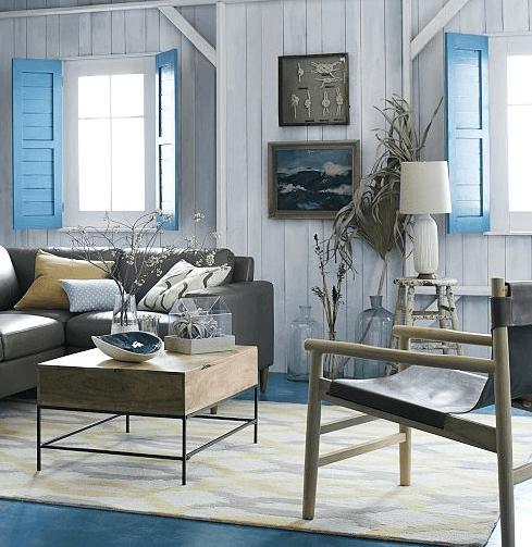 Blue Neutical window shutters indoor wooden playful living room