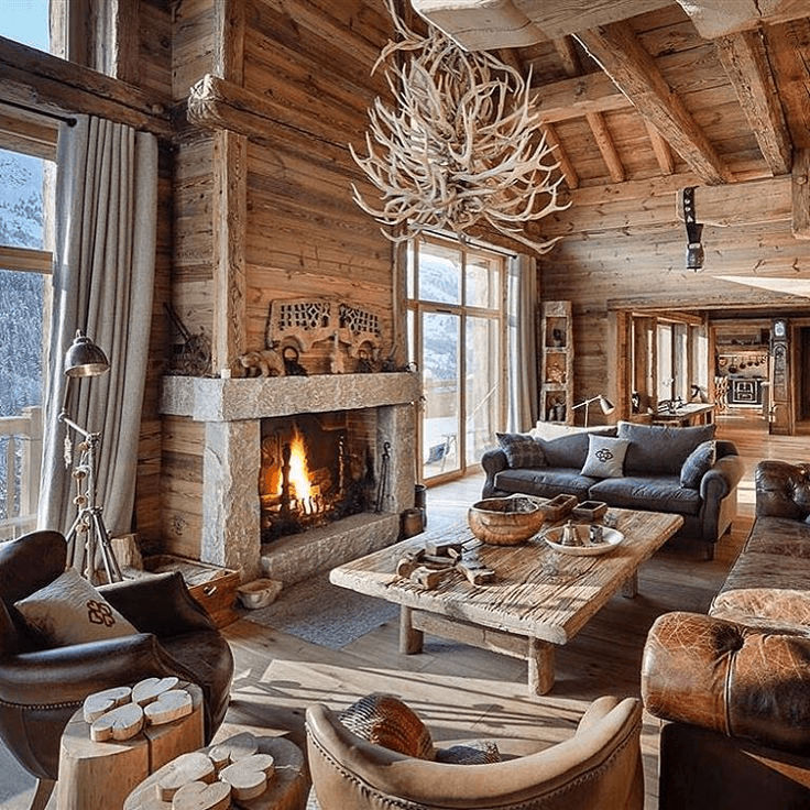 Chalets lodges ski cabin decor large window