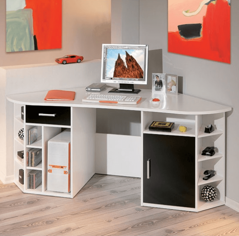 Corner workstation for small space home office design ideas