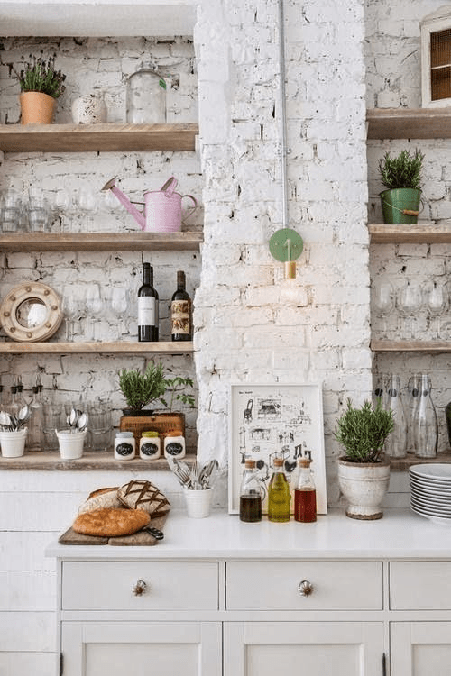 Exposed brick wall decor ideas for kitchen
