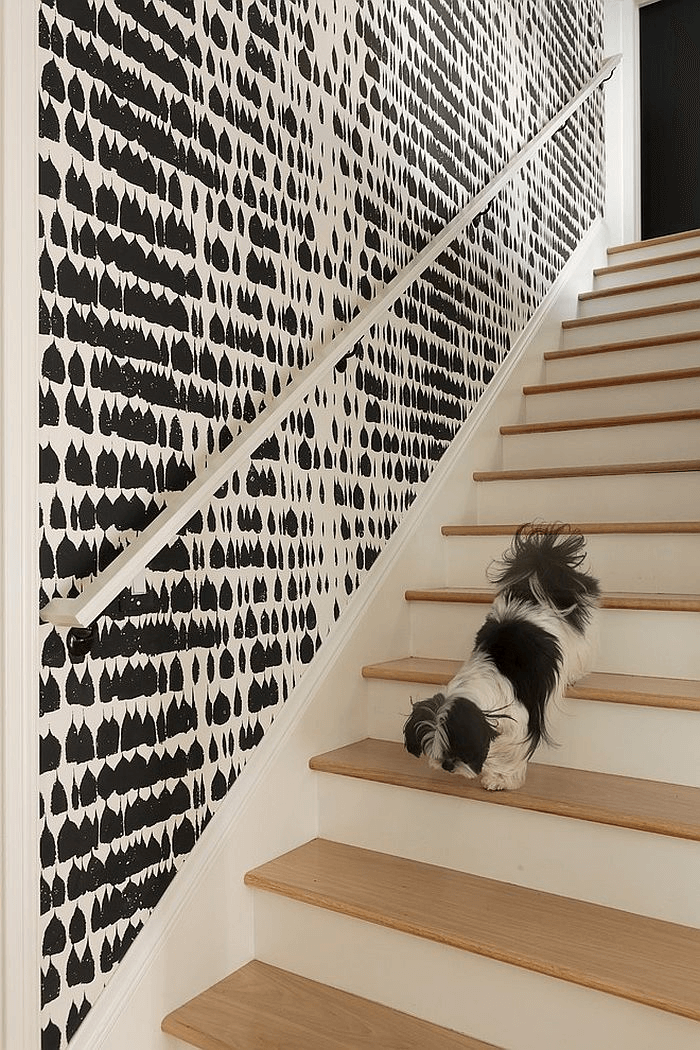 Full Of Pattern Graphic black and white as stairway wall decor ideas