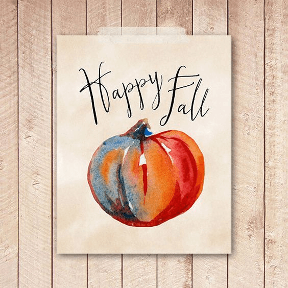 Happy Fall Sign Decor with Watercolor Art