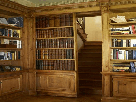 Hidden staircase with giant bookshelf