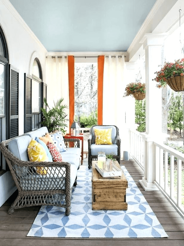 Ideas for decorating front porch for summer with pillows