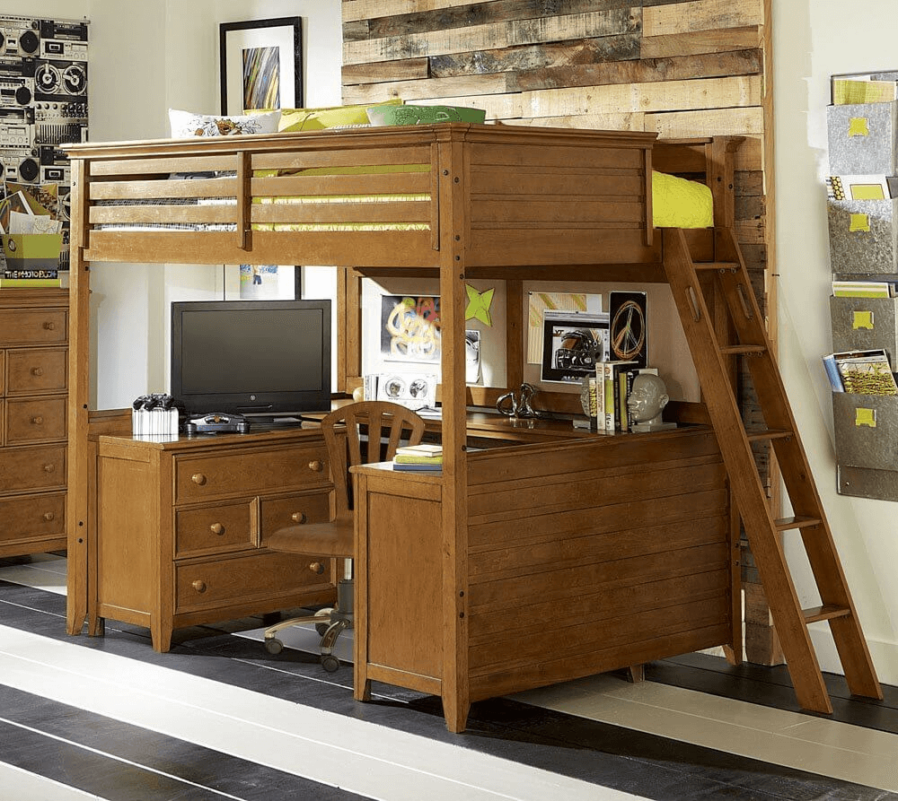Loft bed for small home office design ideas