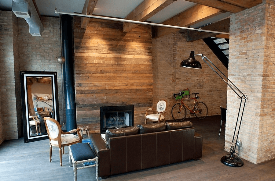 Nice decor ideas for living room exposed brick wall with wood accent panels