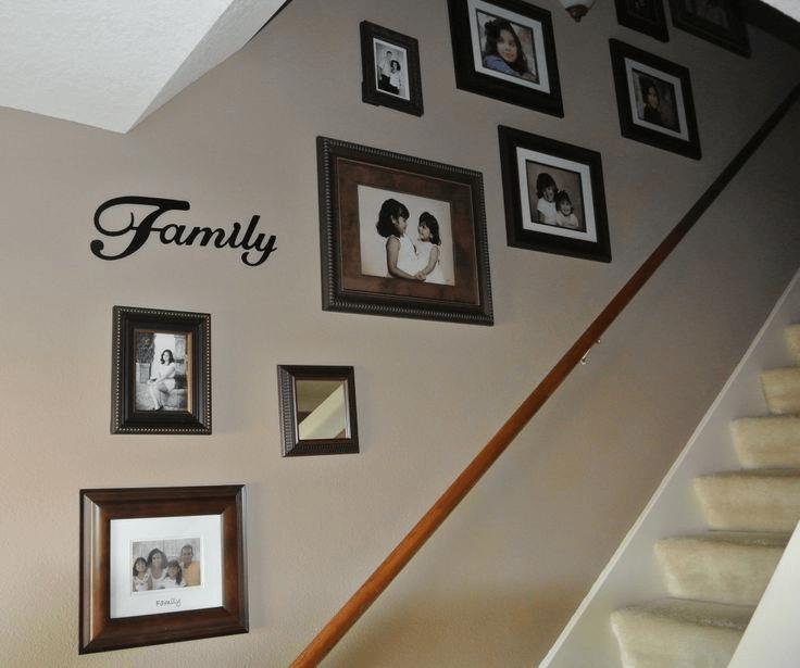 Photo frame memory lane stairway wall decor ideas