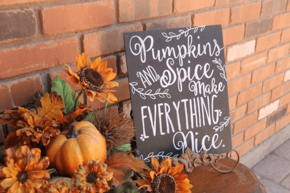 Pumpkin Spice fall sign chalk board