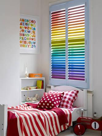 Rainbow painting window shutters indoor