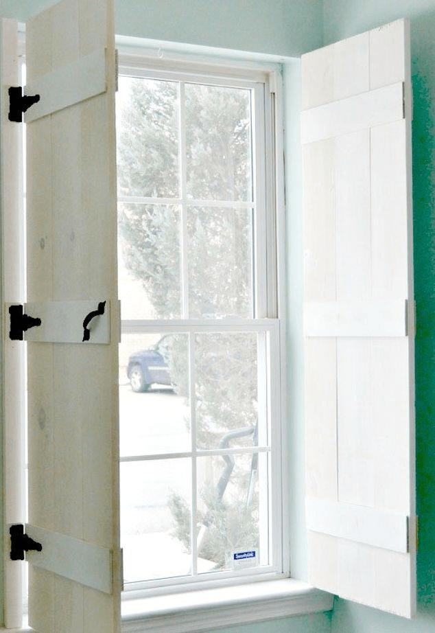 Rustic indoor window shutters