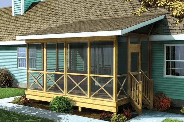 Screened porch with shed roof plans