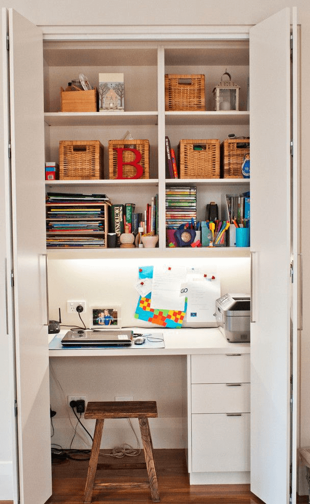Small home office design ideas with closet