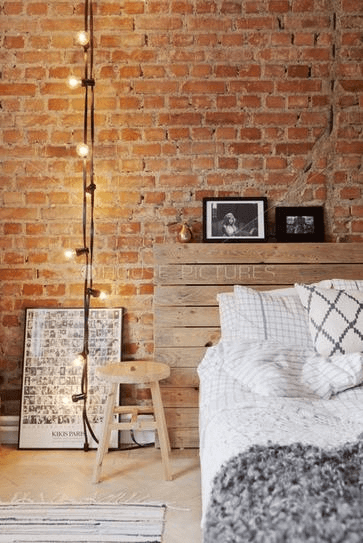 String of Lights for exposed brick wall decorating ideas