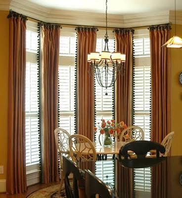 Tall and big window shutters indoor