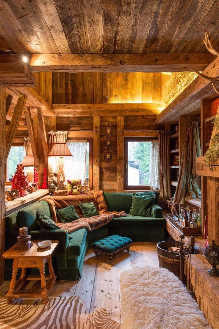 Wooden ski cabin decoration ideas from duplex apartment