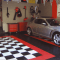 Garage Décor Ideas with black white floor paint color