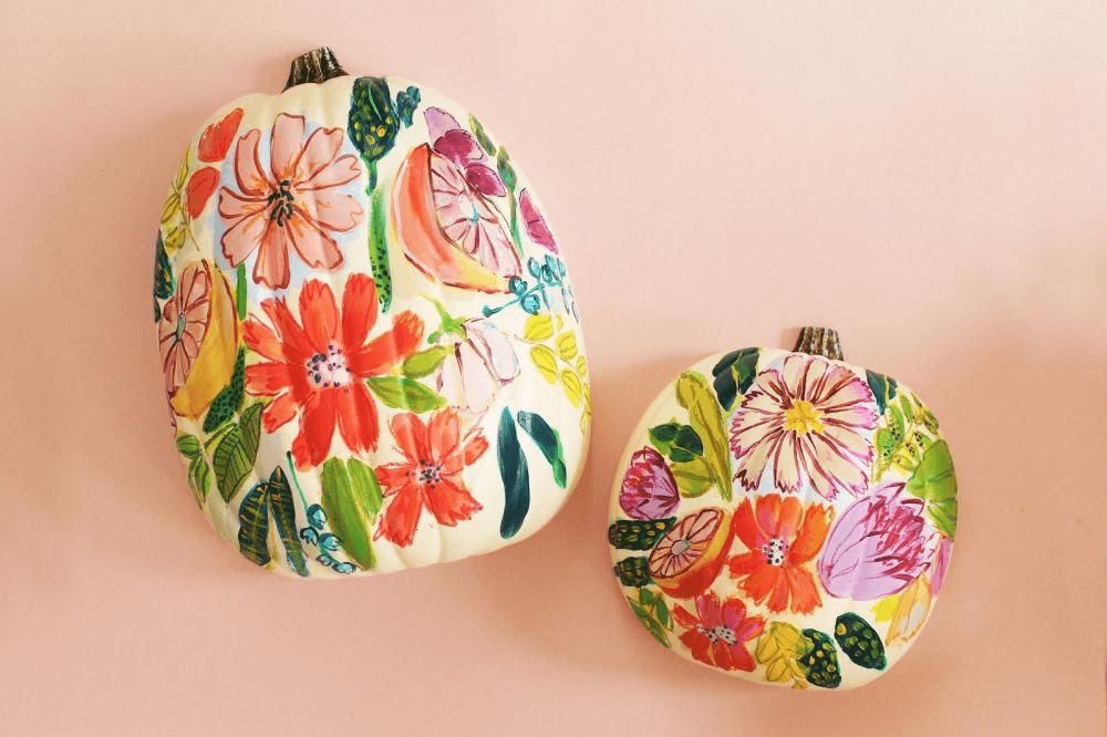 Floral pumpkin painting