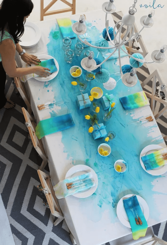 DIY painted tablecloth dining rooms