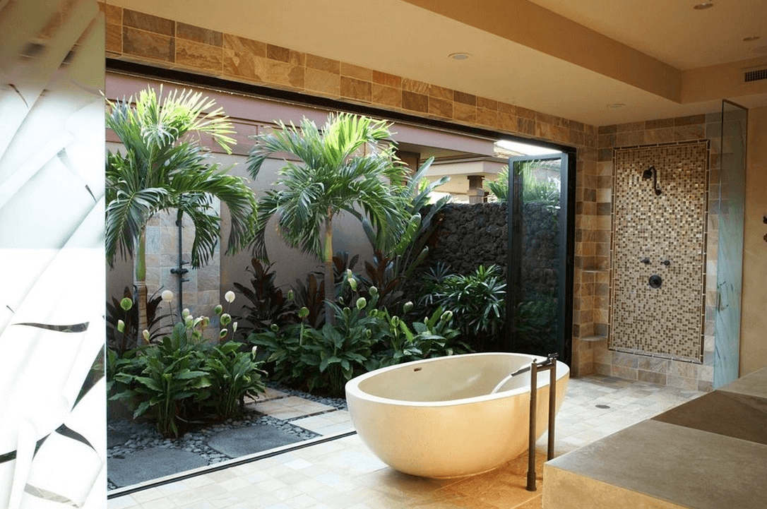 Garden bathroom decor bath tubs extra space for plants