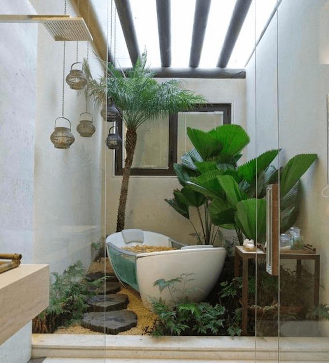 Garden green house bathroom decor ideas