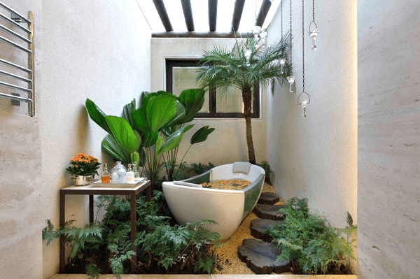 Huge bathroom plants decor ideas