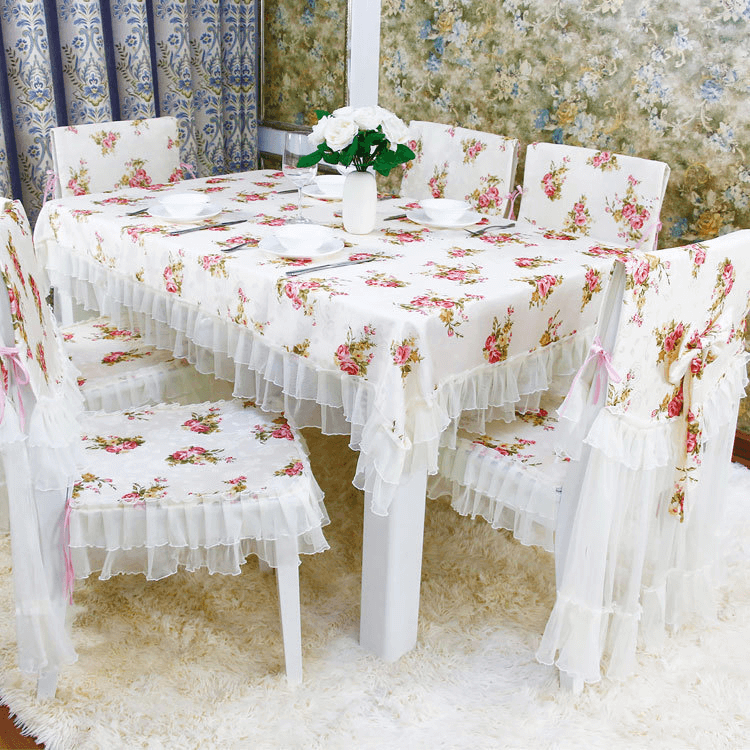 Vintage shabby chic lace tablecloth dining room