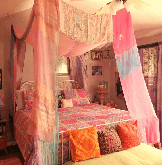Bed canopy boho bedroom ideas