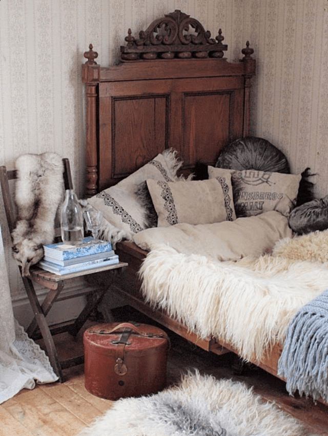 Boho bedroom fur throw bohemian decoration ideas on a budget