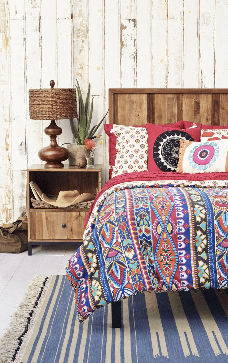 Bright blanket boho bedroom style decor ideas