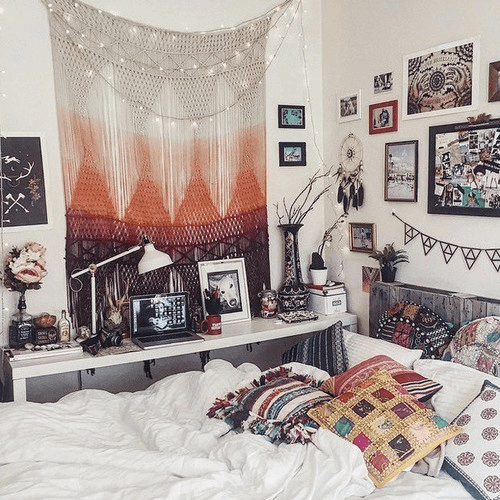 DIY boho wall decor bedroom bohemian urban style