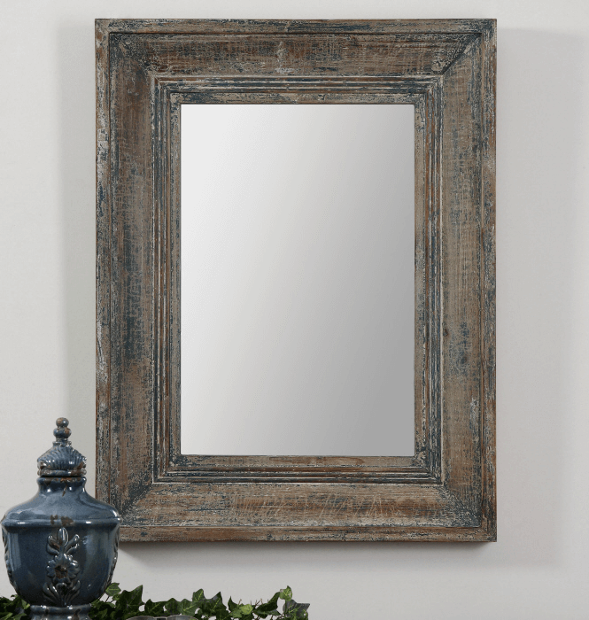 Distressed Wooden Frames rustic mirror bedroom decoration ideas
