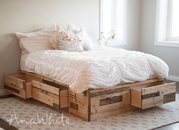 Pallet Bed Frame diy storage ana white