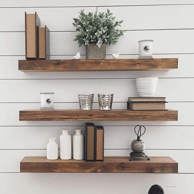 Rustic Wooden Floating Wall Shelves Bedroom Decoration Ideas