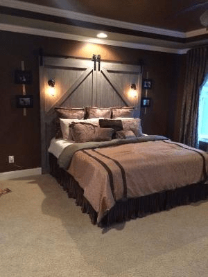 Wooden headboard bedroom with light