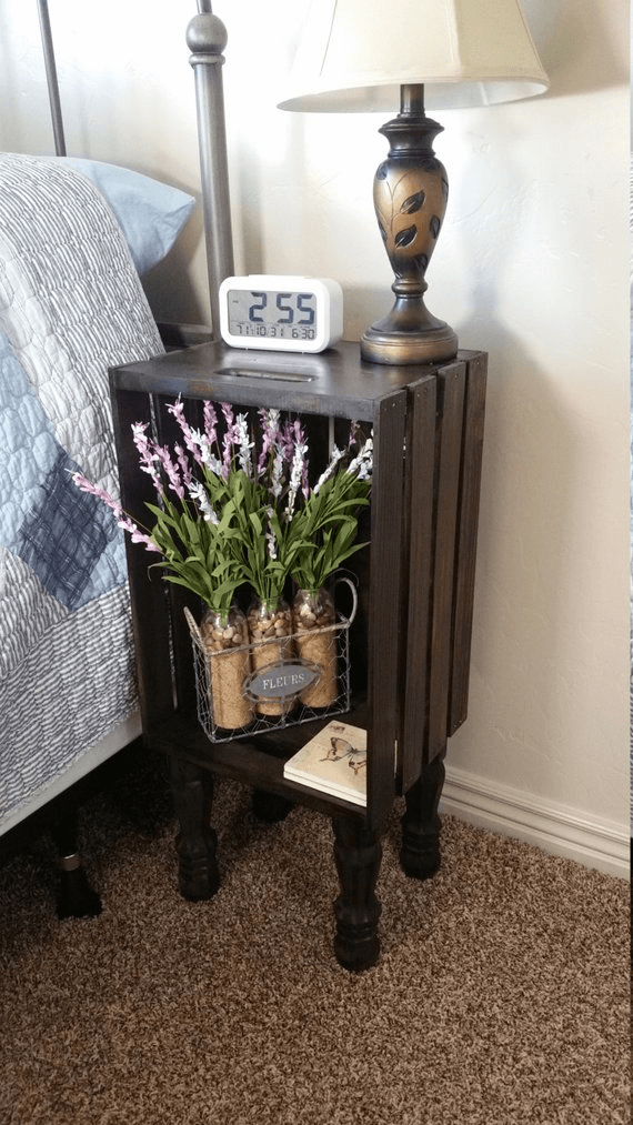 Wooden rustic bedroom decoration with crate bedside table