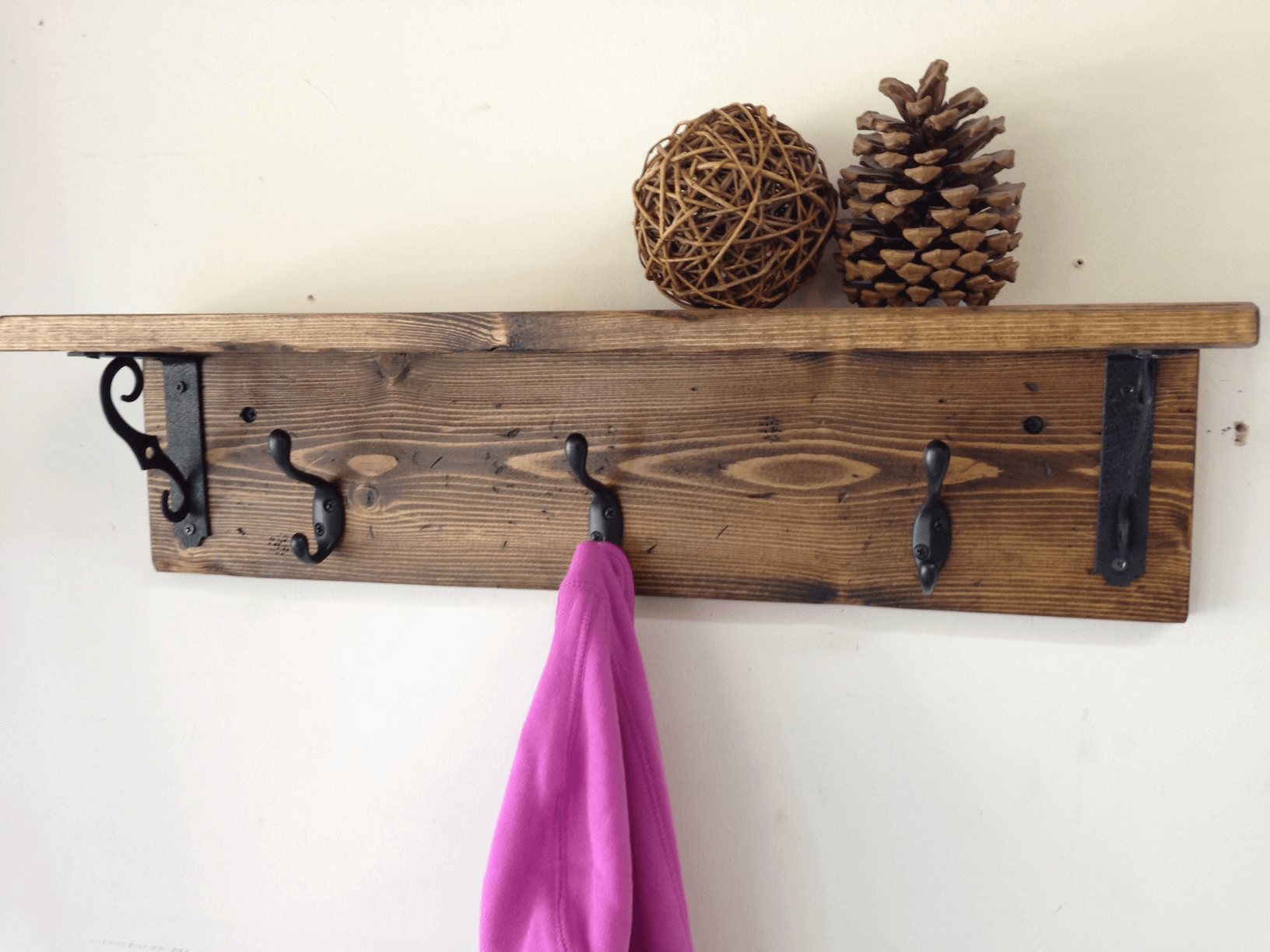 Wooden wall hooks coat racks for rustic bedroom decor ideas