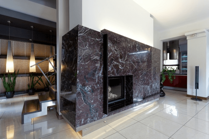 Black marble fireplace modern