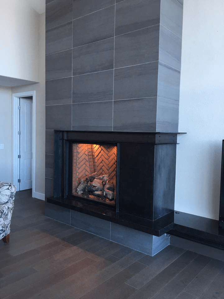 Black steel fireplace surround