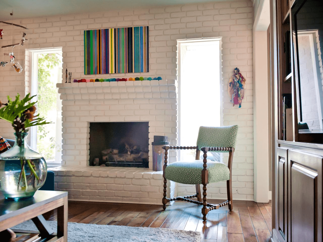 Contemporary brick fireplace ideas