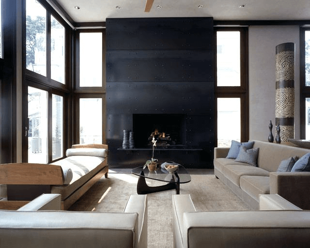 Floor to ceiling fireplace modern