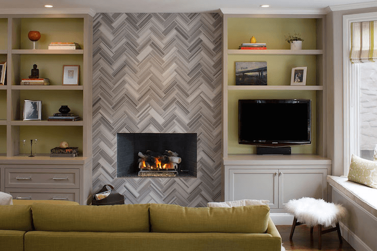 Marble harringbone fireplace living room contemporary design ideas