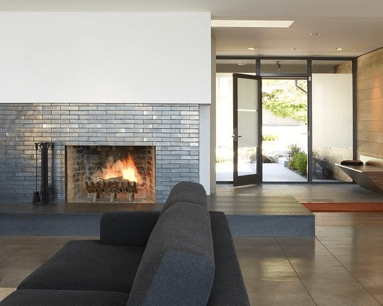 Metal brick fireplace contemporary design ideas