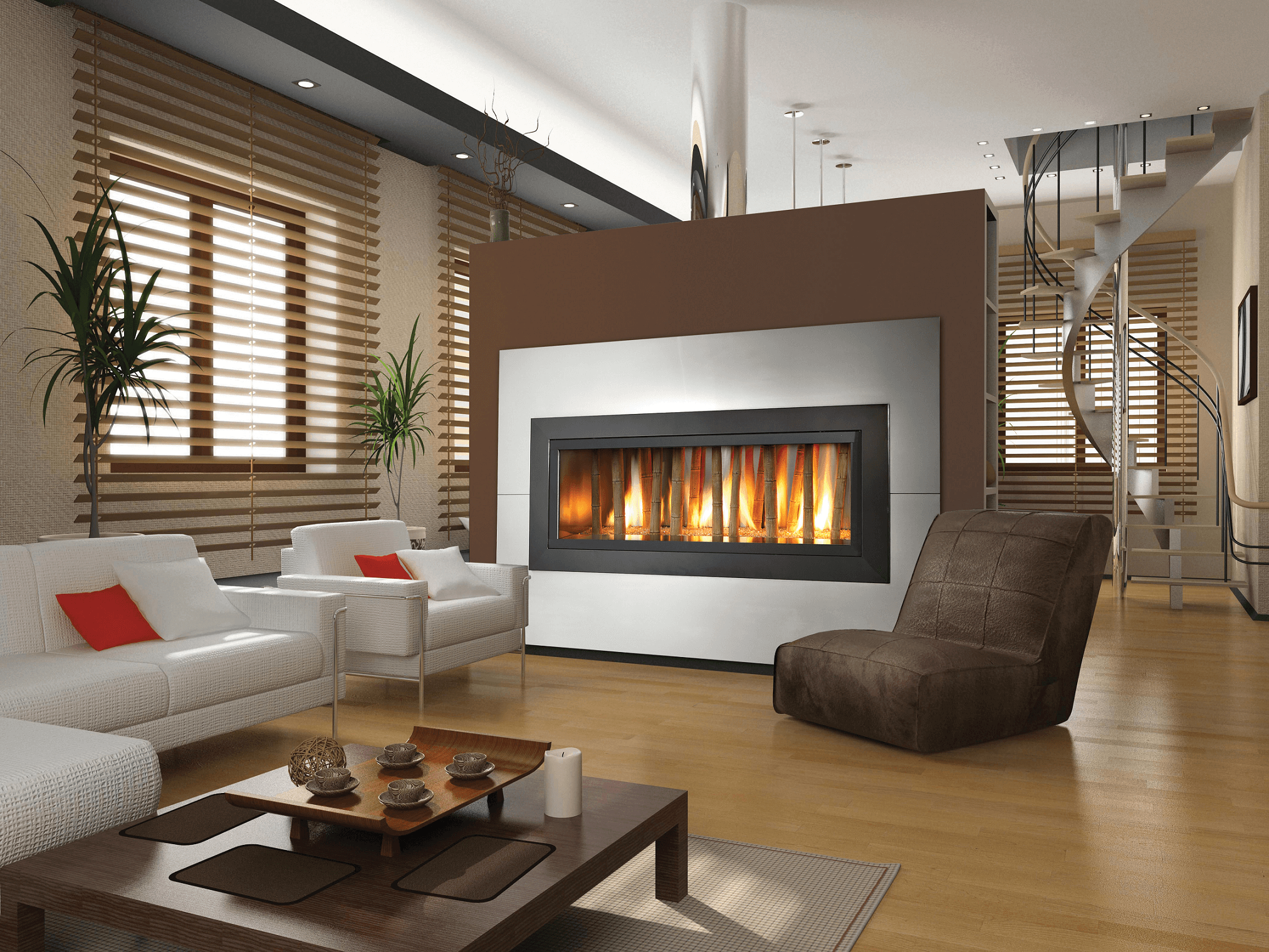 Modern glass fireplace design ideas